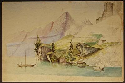 Zeichnung, Alpine Landschaft (Rütli?)