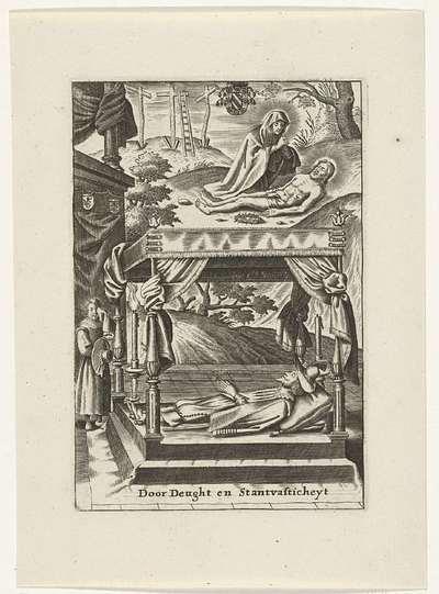 Maria bij het lichaam van Christus en een opgebaarde hoveling
