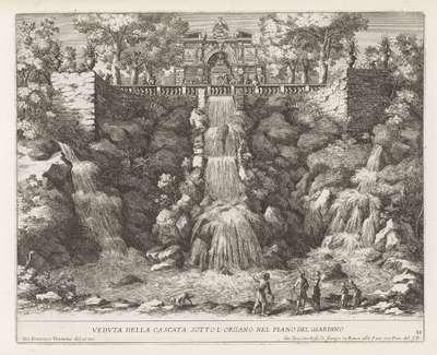 Cascade in de tuinen van de Villa d'Este te Tivoli