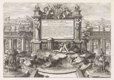 Fontein met opdracht aan en wapen van Ercole II d'Este
