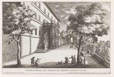 Tuinzijde van de Villa d'Este te Tivoli