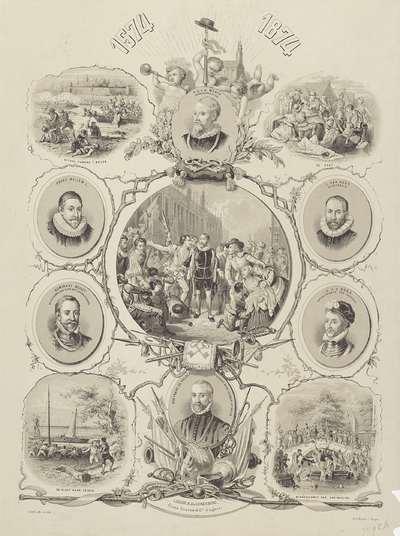 Gedenkplaat bij 300 jaar Leids Ontzet 1574-1874