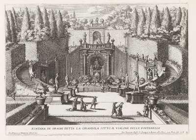 Fontana dei Draghi in de tuinen van de Villa d'Este te Tivoli