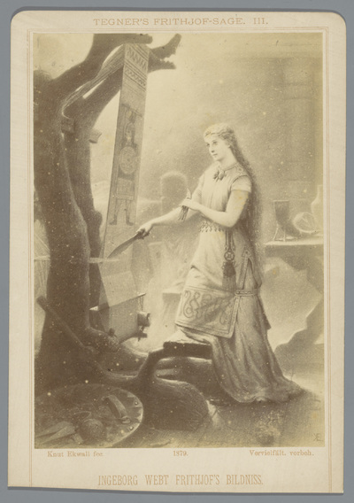 Fotoreproductie van een tekening, voorstellende Ingeborg weeft een tapijt met de beeltenis van Frithjof