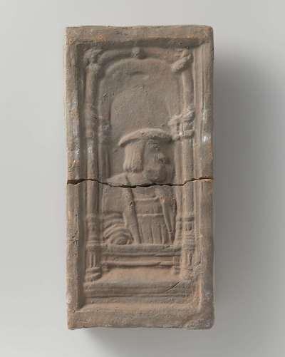 Baksteen met borstbeeld van Karel V binnen een vensternis