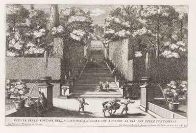 Trap met fonteinen in de tuinen van de Villa d'Este te Tivoli