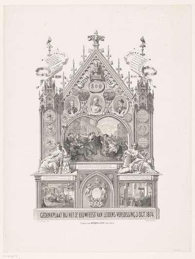 Gedenkplaat bij het 3e Eeuwfeest van Leidens Verlossing 3 Oct. 1874