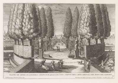 Cirkel van cipressen in de tuinen van de Villa d'Este te Tivoli