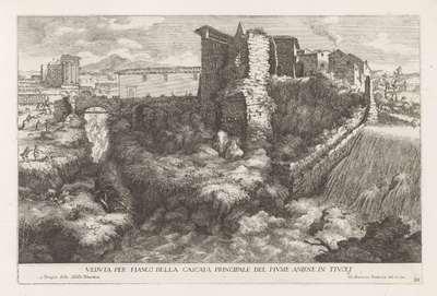 Landschap met waterval en tempel van de Tiburtijnse Sibille te Tivoli