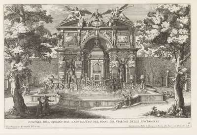Fontein met hydraulisch orgel in de tuinen van de Villa d'Este te Tivoli