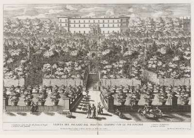 Villa d'Este te Tivoli gezien vanuit de tuinen met verscheidene fonteinen