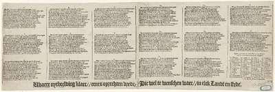 Tekstblad bij de prent over de voorspoed die de vrede de Nederlanden brengen zal, 1608