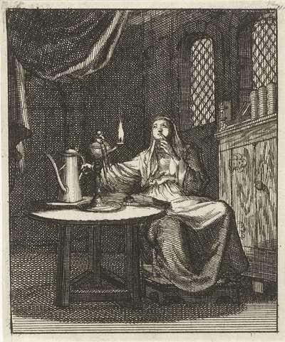 Vrouw aanschouwt de vlam uit een olielamp