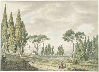 View of the terraces of the Villa d'Este in Tivoli