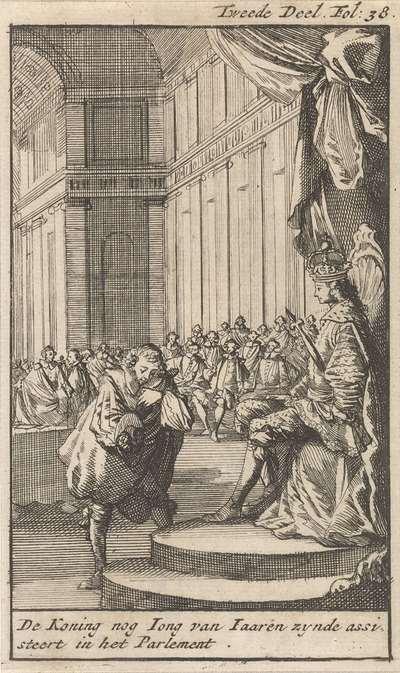 Hoveling buigt voor de jonge Lodewijk XIV van Frankrijk