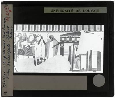 Oud-Grieks aardewerk. Kleitias en Ergotimos. Françoisvaas. Detail Huwelijk van Peleus en Thetis. Detail