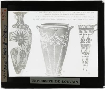 Oud-Grieks aardewerk. Drie Kretenzische vazen