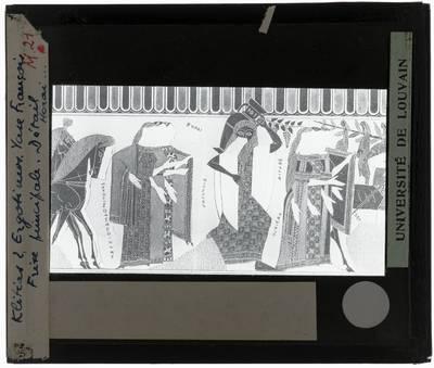 Oud-Grieks aardewerk. Kleitias en Ergotimos. Françoisvaas Hoofdfries. Detail