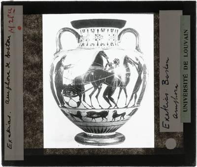 Oud-Grieks aardewerk. Exekias. Amfora Tafereel met strijdwagen