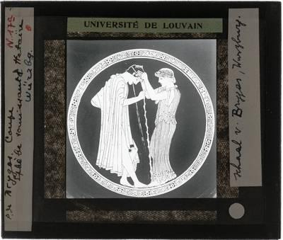 Oud-Grieks aardewerk. Brygos painter. Schaal Komos