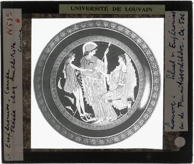 Oud-Grieks aardewerk. Euphronios en Onesimos. Schaal. Binnenkant Theseus en Amphitrite, met Athena