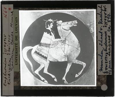 Oud-Grieks aardewerk. Kachrylion en Euphronios. Schaal. Ruiter