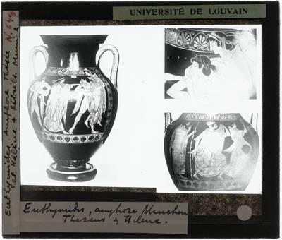 Oud-Grieks aardewerk. Euthymides. Amfora Vooraanzicht met Theseus ontvoert Korone en twee details