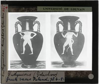 Oud-Grieks aardewerk. Euthymides. Amfora Voor- en achterzijde met mythologische figuren