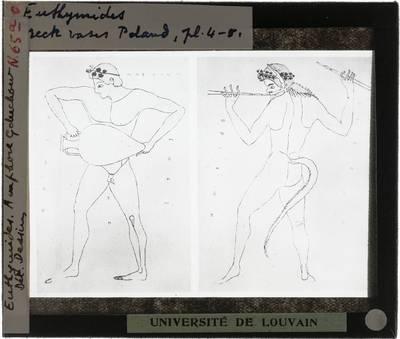 Oud-Grieks aardewerk. Euthymides. Amfora Details van mythologische figuren