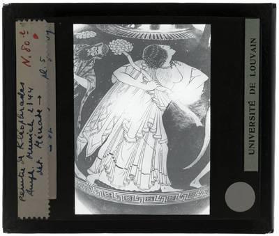 Oud-Grieks aardewerk. Kleophrades painter. Amfora Dionysos en Maenaden. Detail