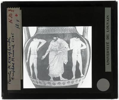 Oud-Grieks aardewerk. Kleophrades painter. Amfora Boksers en hun trainer