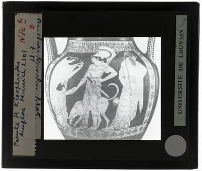Oud-Grieks aardewerk. Kleophrades painter. Amfora Vertrek van een krijger met hond vergezeld door zijn vrouw en vader