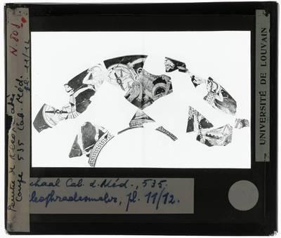 Oud-Grieks aardewerk. Kleophrader painter. Fragmenten met figuren