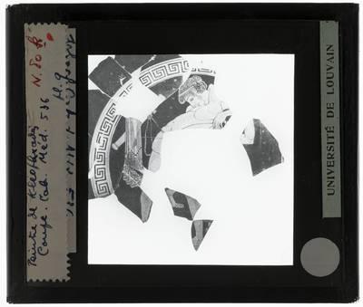 Oud-Grieks aardewerk. Kleophrades painter. Fragmenten met figuren