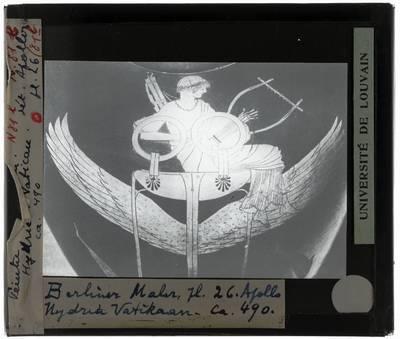 Oud-Grieks aardewerk. Berliner Maler. Hydria Detail: Apollo zittend op de drievoet