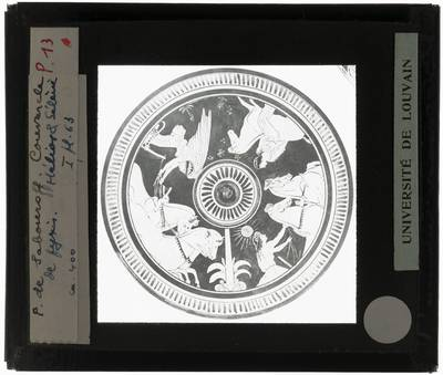 Oud-Grieks aardewerk. Roodfigurige stijl. Pyxis. Fragment Hélios & Sélènè