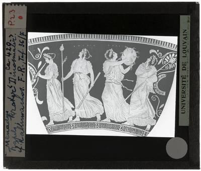 Oud-Grieks aardewerk. Dinos Painter. Stamnos Maenaden