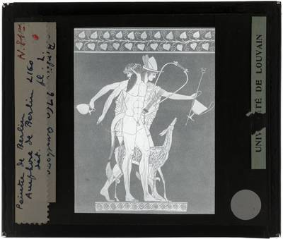 Oud-Grieks aardewerk. Berliner Maler. Amfora Voorzijde: Satyr en Hermes, detail