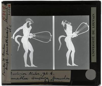 Oud-Grieks aardewerk. Berliner Maler. Amfora Satyr: Voor- en achterzijde