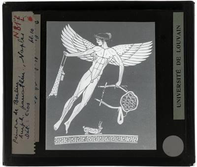 Oud-Grieks aardewerk. Berliner Maler. Amfora Detail: Eros