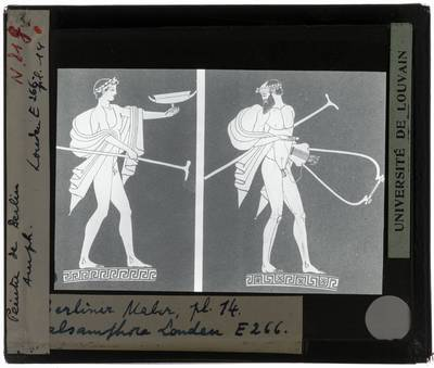 Oud-Grieks aardewerk. Berliner Maler. Amfora Voor- en achterzijde