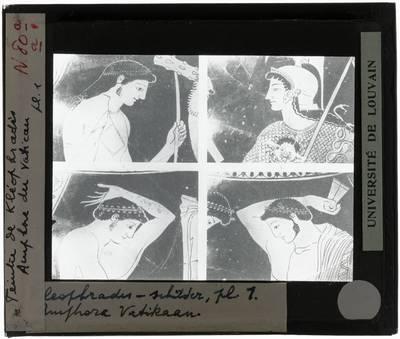 Oud-Grieks aardewerk. Kleophrades Painter. Amfora Vier details