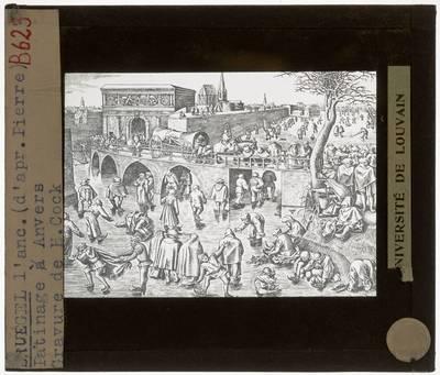 Pieter Brueghel de Oude (naar). Frans Huys (door). Schaatsers voor de Sint-Jorispoort te Antwerpen