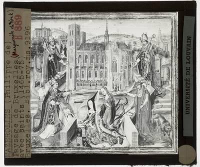 Philippe de Marolles. Miniatuur: Landschap van Brussel met heiligen en Margaretha van York