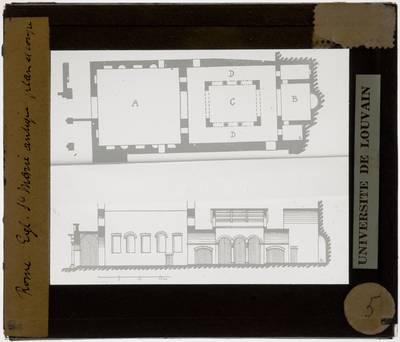 Roma. Chiesa di Santa Maria Antiqua Plattegrond en zijaanzicht