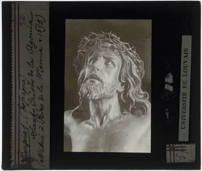 Pedro de Mena. Miraculeuze crucifix van Limpias Detail: Hoofd van Christus