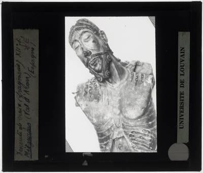Crucifix met Kruisafneming Detail: Buste van Christus