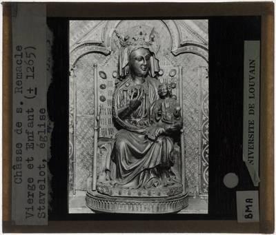 Schrijn van Saint-Remacle van Stavelot Detail: Madonna met Kind, vooraan