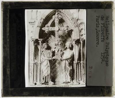 Triptiek, reliekschrijn, van het Ware Kruis Detail: Centraal deel