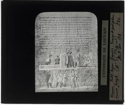 Vienna Genesis Miniatuur: Jozef beschuldigd door de vrouw van Potifar (16v)